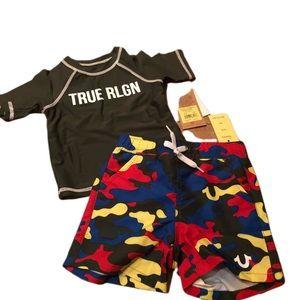 True Religion Swim Set Trunks Shirt Camo 12 month